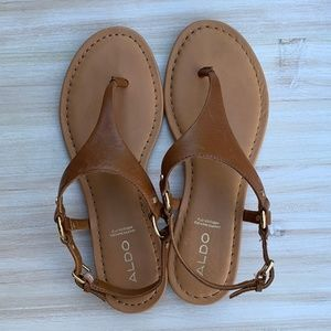 ALDO brown thong sandals w/ gold accents
